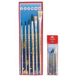 Set pensule varf rotund ascutit nr. 4, 6, 8, 10 + tesite nr. 10, 12