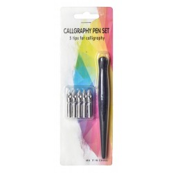 Set toc lemn & 5 penite caligrafie blister