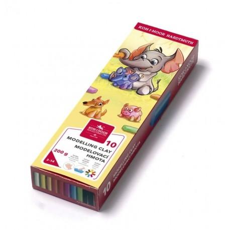 Plastilina 10cul cutie carton 200g ELEFANT