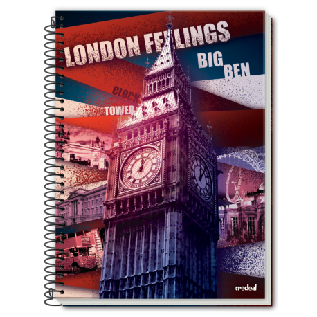 Caiet spira metal LONDON FEELINGS 96 pagini