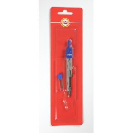 Compas metalic colorat si rezerva creion
