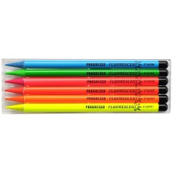 """Set 6 culori FLUO """"Progresso"""" fara lemn"""