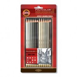 Set 12 creioane POLYCOLOR GRI
