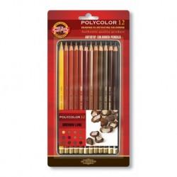Set 12 creioane POLYCOLOR MARON