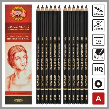 Creion GIOCONDA mina carbune artificial NEGRU