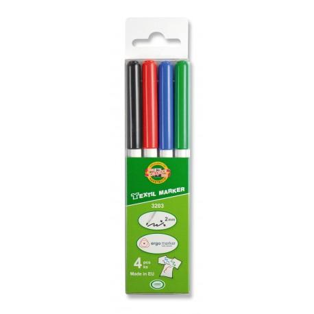 Set marker textil 4 culori clasice