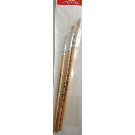Set pensule lemn natur tesite nr. 4, 8, 12